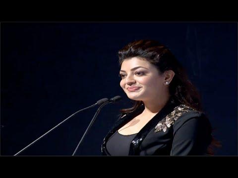 Kajal Aggarwal Cute Speech @ CCL5 100 Hearts Red Carpet