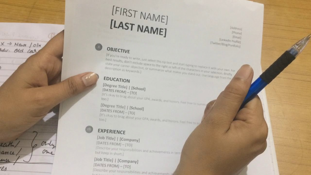 how to make resume youtuve