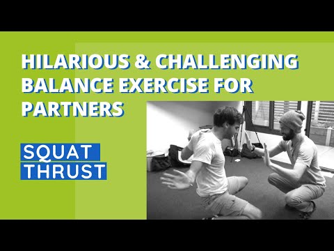 Hilarious & Challenging Balance Exercise for Partners Squat Thrust