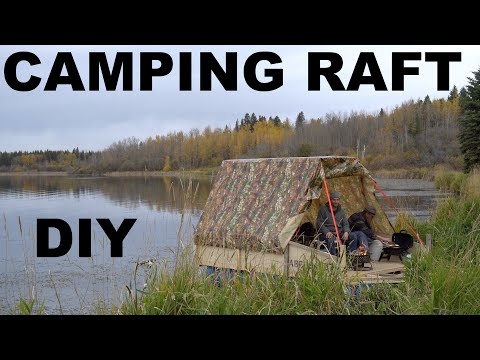Camping On Homemade Rain Barrel Pontoon Raft On The Lake