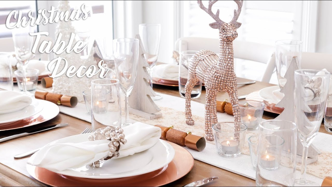 Christmas Table Decor Rose Gold Silver Theme