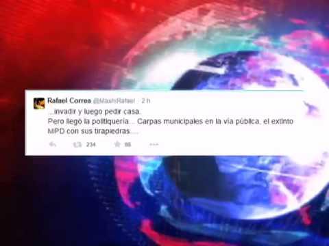 Presidente Rafael Correa mediante su cuenta de Twitter se refiere al tema invasiones