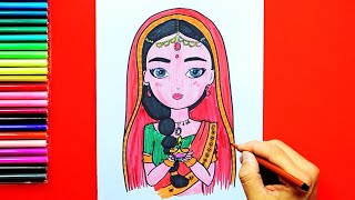 How to draw and color a beautiful girl holding Diwali diya
