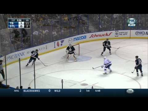 Puck hits Kelly Chase, Pang lulz. TB Lightning  vs St. Louis Blues Feb 3 2015 NHL Feb 3 2015 NHL