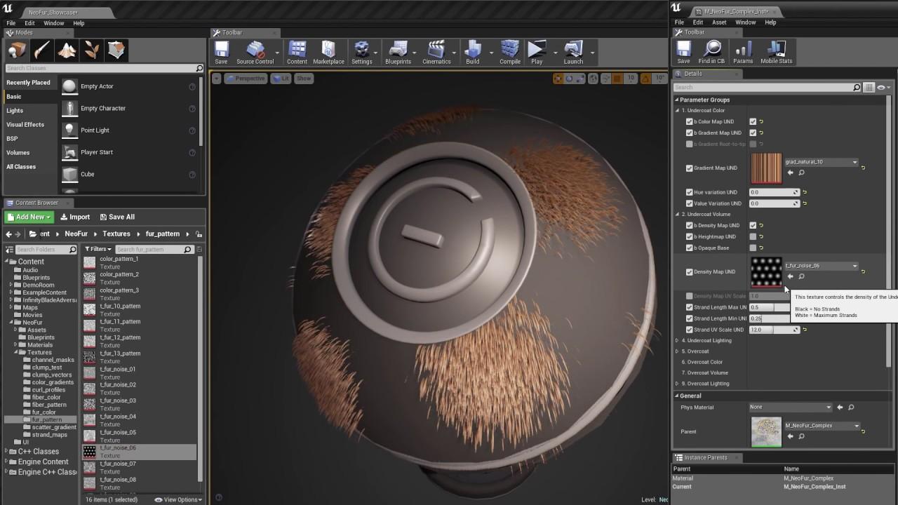 advanced hair fur material in unreal engine 4 using neofur plugin