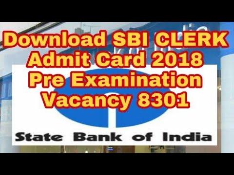 sbi pre admit card clerk 2018
