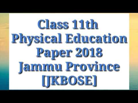 Class 11th Physical Education Question Paper 2018 | Jammu Province | JKBOSE |