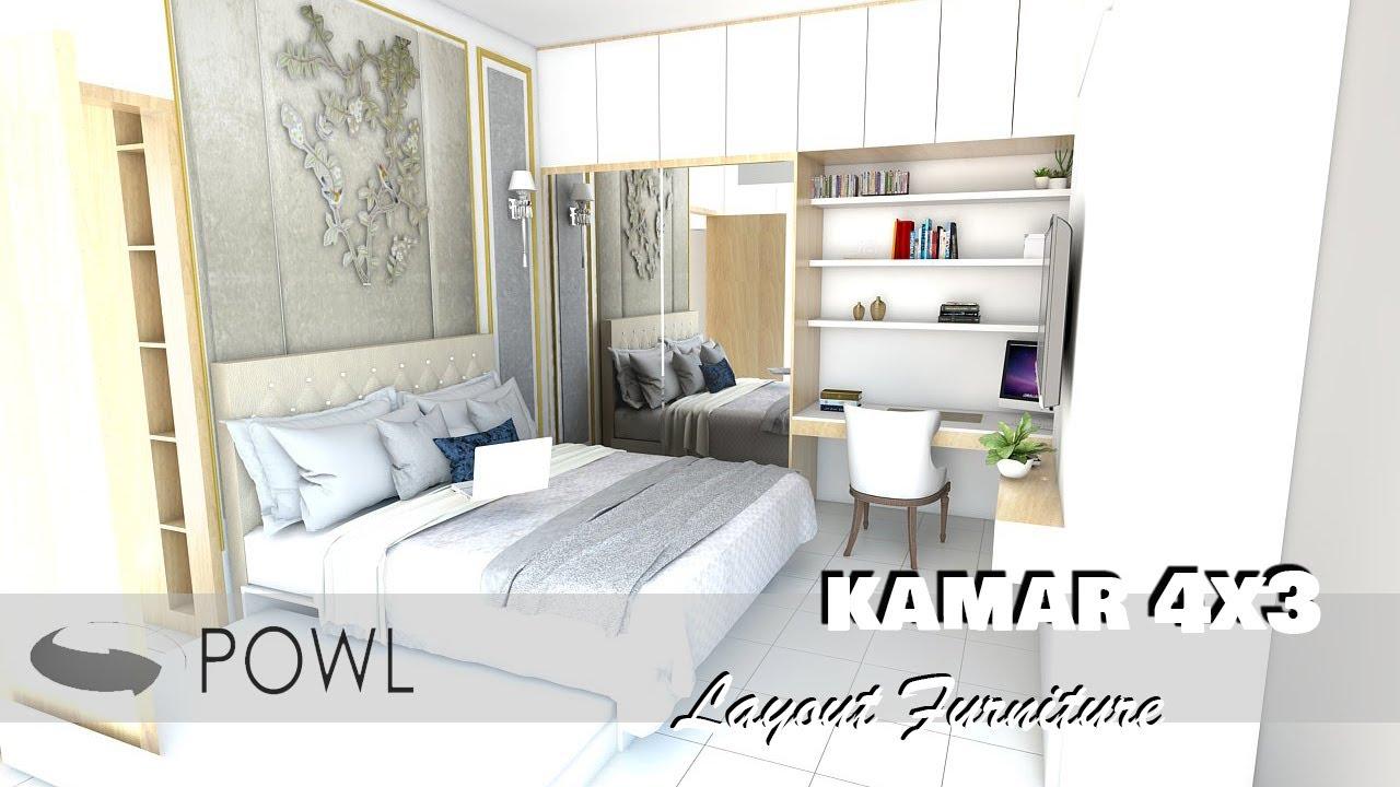 Desain Kamar Tidur Ukuran 4x3 Meter Dengan Penataan Furniture Youtube