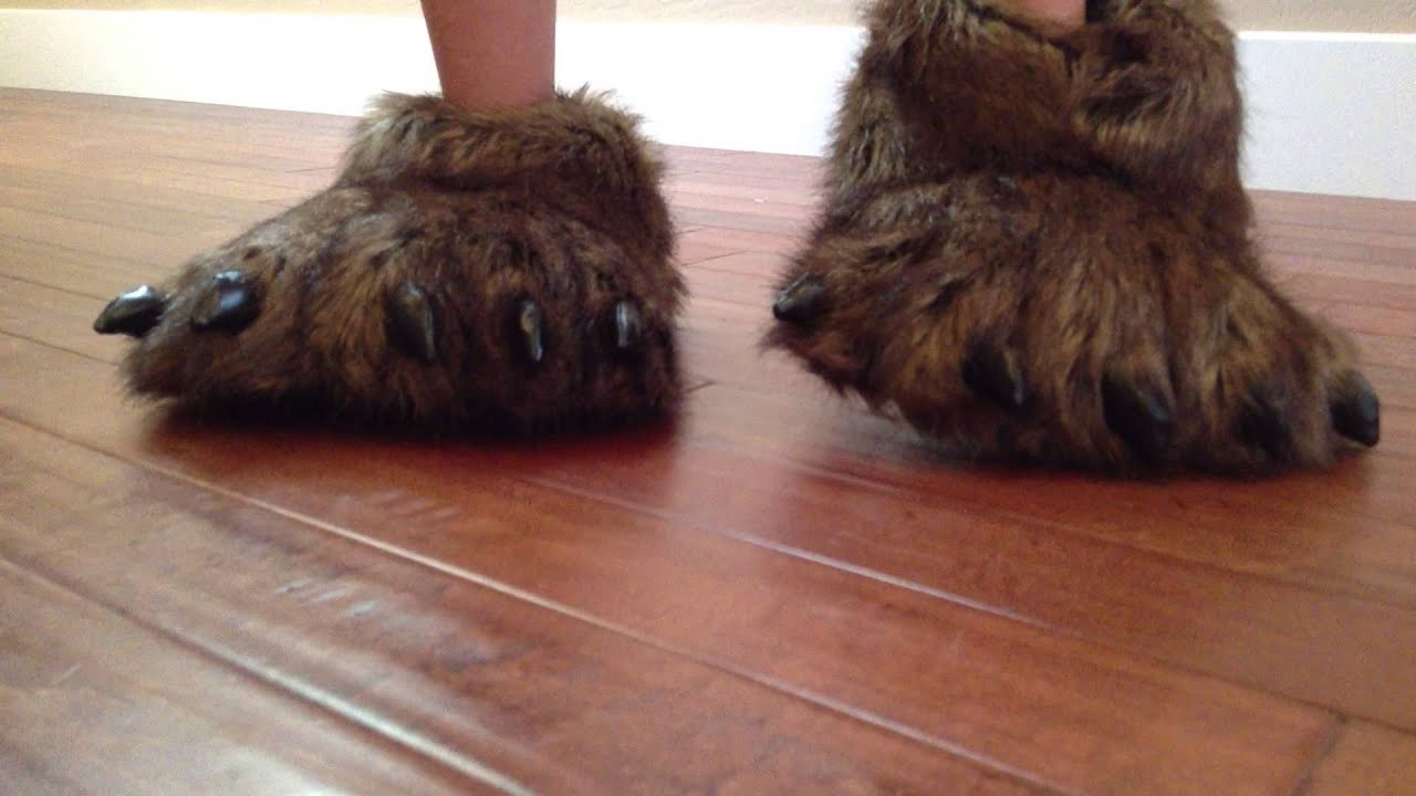85deb65fb54 Grizzly Bear Paw Slippers - YouTube