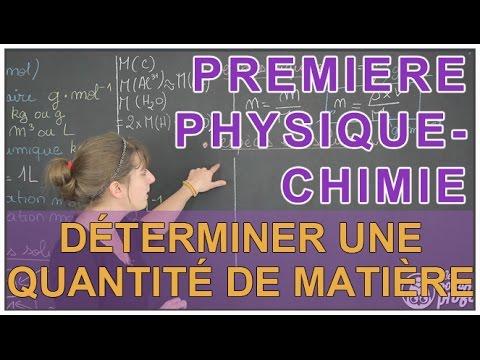 Quantité de matière 1ère Physique