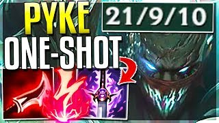FULL DMG PYKE MID IS LEGIT BROKEN! ONE-SHOT BUILD! Pyke Gameplay Mid - League of Legends