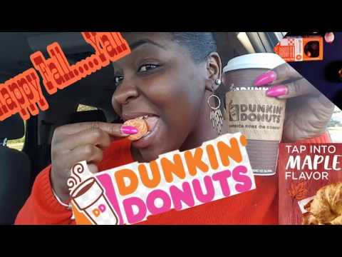 Dunkin Doughnuts Mukbang || Pumpkin Macchiato || Maple Bacon & Cheese Croissant Breakfast sandwich