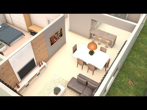 Planta 3D com dois quartos e  Cozinha americana  medindo 60,46 m²