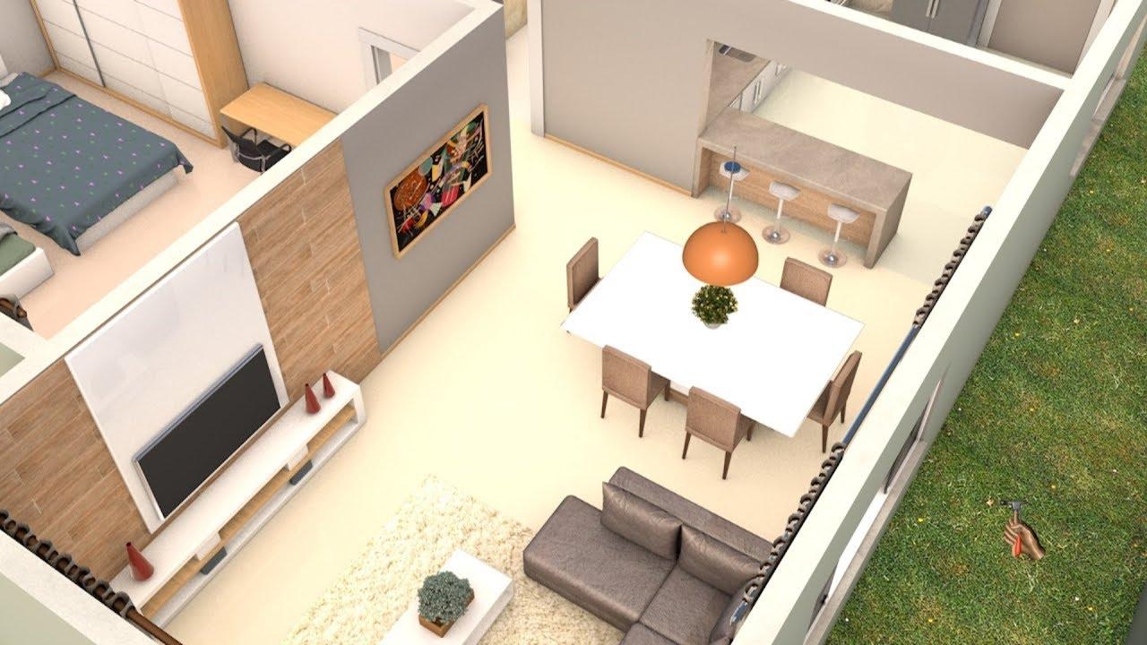 Planta 3d Com Dois Quartos E Cozinha Americana Medindo 60 46 M