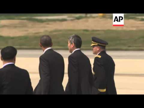 US President Obama lands in South Korea on second leg of Asia trip