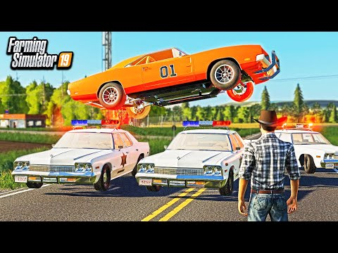 DUKES OF HAZZARD- COP CHASE & RESTORING THE GENERAL LEE! (ROLEPLAY) | FARMING SIMULATOR 2019