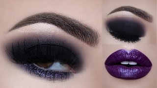 glitter smokey eyes purple lips makeup tutorial   melissa samways