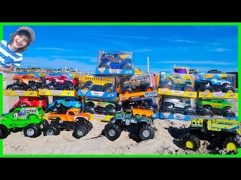 Epic Monster Truck Arena At The Beach Unboxing 13 New Toy Monster Trucks Youtube