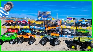 Epic Monster Truck Arena At The Beach | Unboxing 13 New Toy Monster Trucks