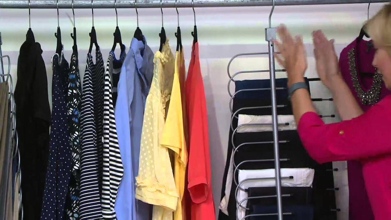 Space Saving 10 Pair Pant Hanger Wardrobe Organizer On QVC   YouTube