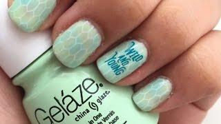 Mermaid nails tutorial - Stamping on gel nail polish