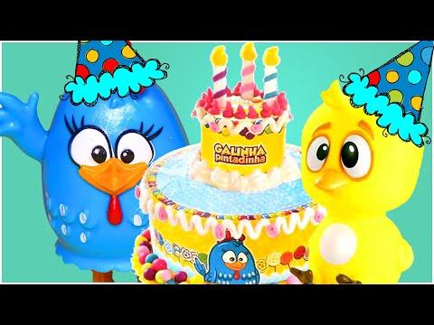 Parabéns da Galinha Pintadinha Feliz Aniversário Bolo Massinha Play-Doh Pintinho Amarelinho Musica