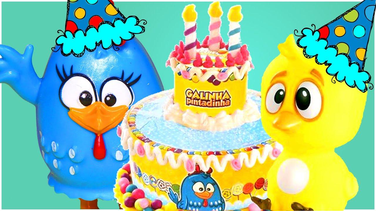 Parabéns Da Galinha Pintadinha Feliz Aniversário Bolo Massinha Play