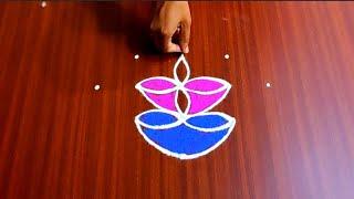 Simple Diwali Deepam Rangoli Design with 5x1 Dots   Deepam Muggulu Design   Festival Rangoli  