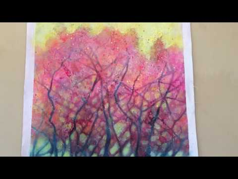 "Acrylic abstract landscape painting: ""Pink Forrest"""