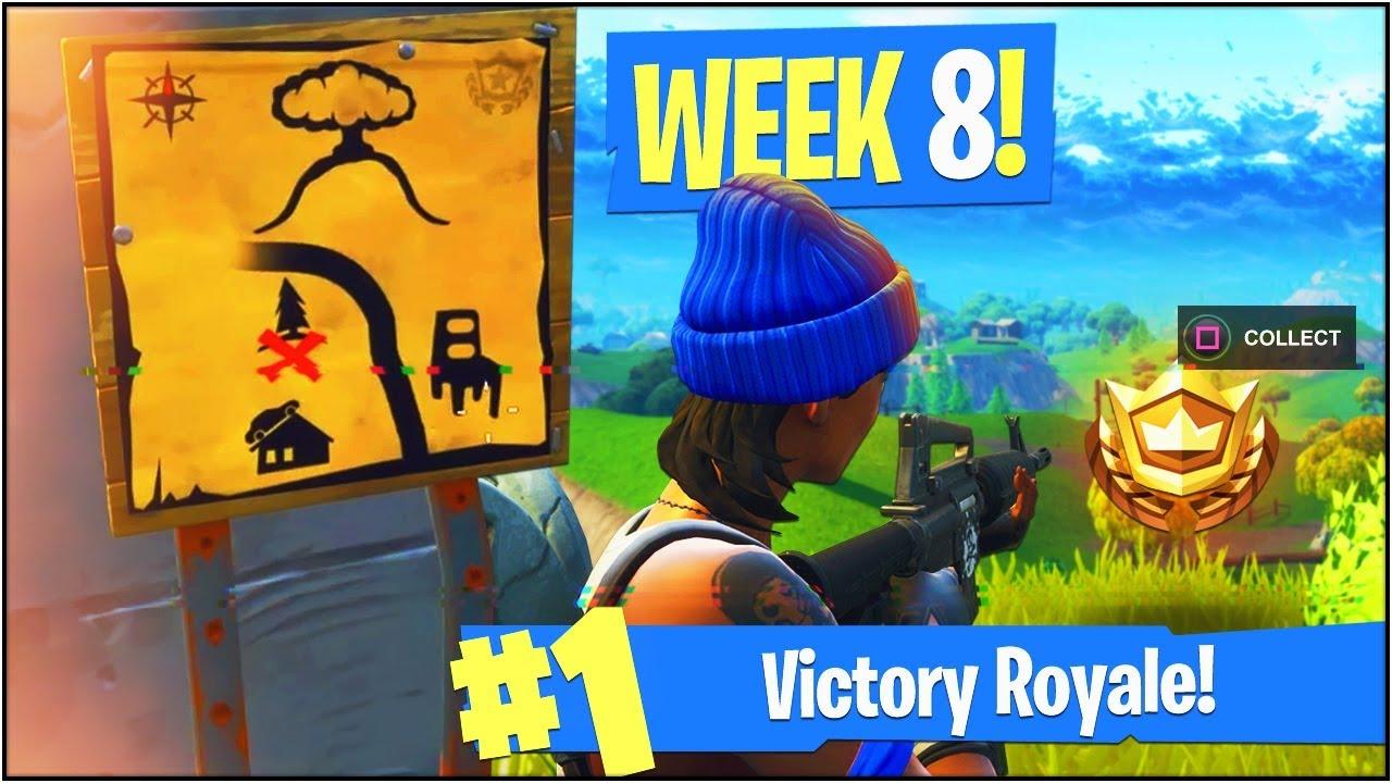 new week 8 battle pass challenges in fortnite battle royale week 8 treasure map more - fortnite season 8 week 8 treasure map
