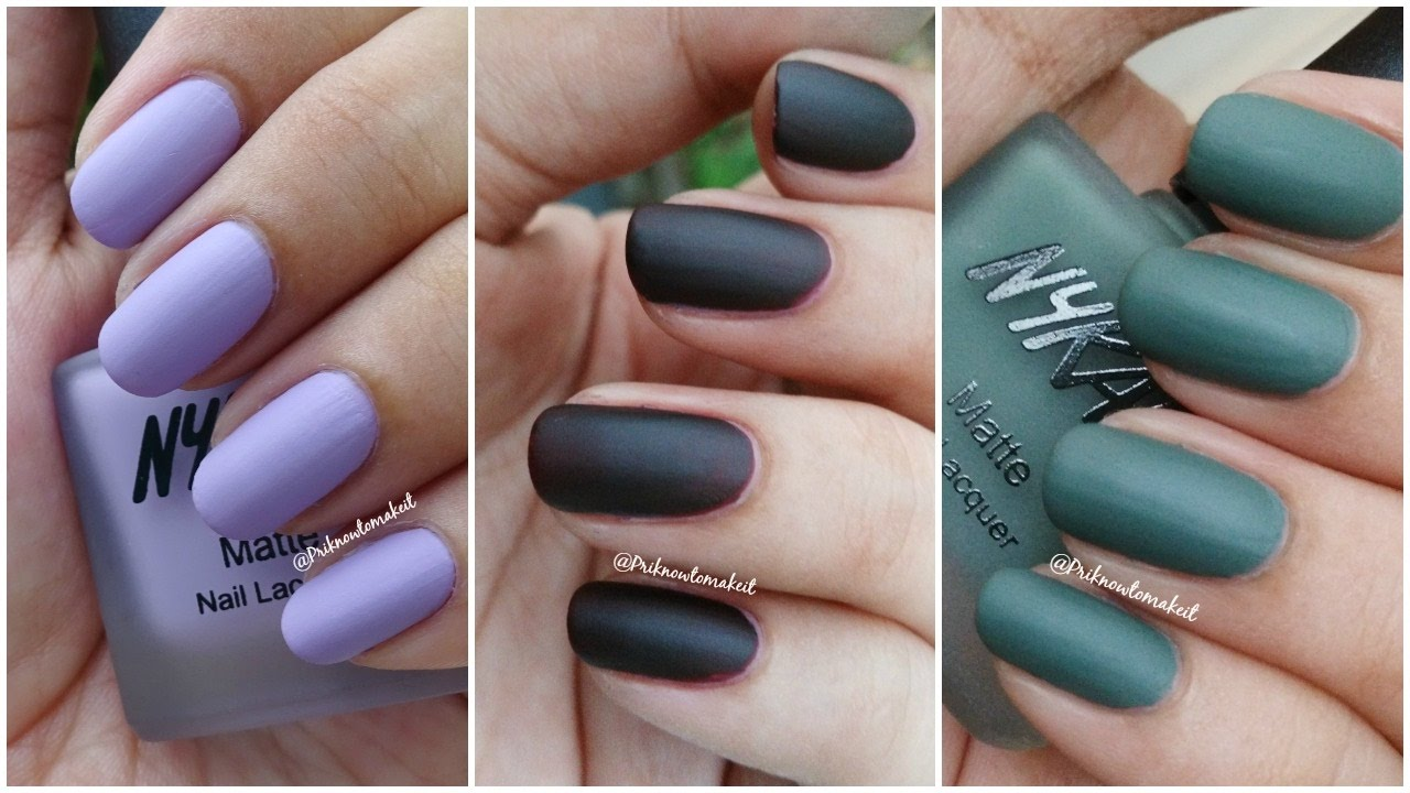 Nykaa - Matte nail lacquer | Swatches and review | matte collection ...