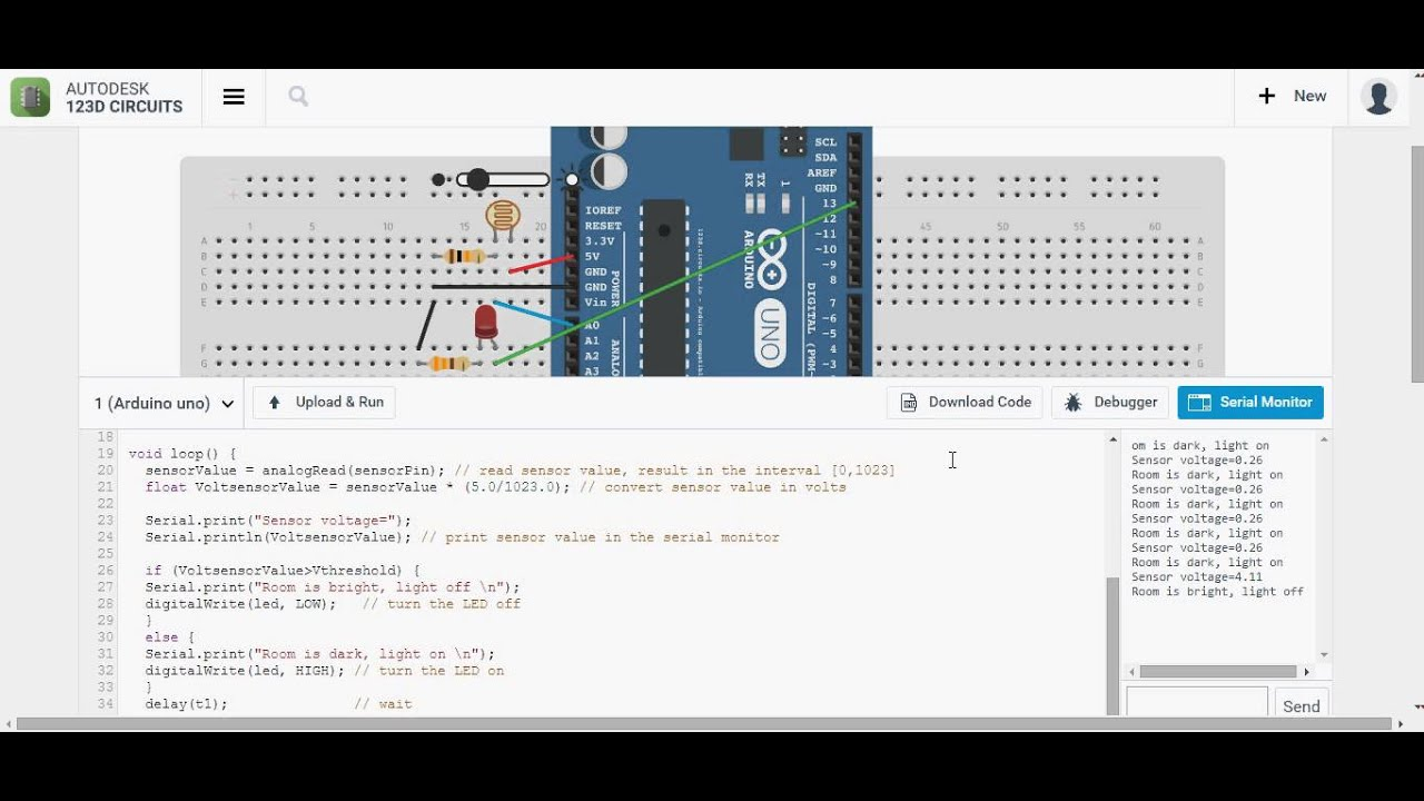 Photoresistor commanded LED using Arduino UNO - YouTube