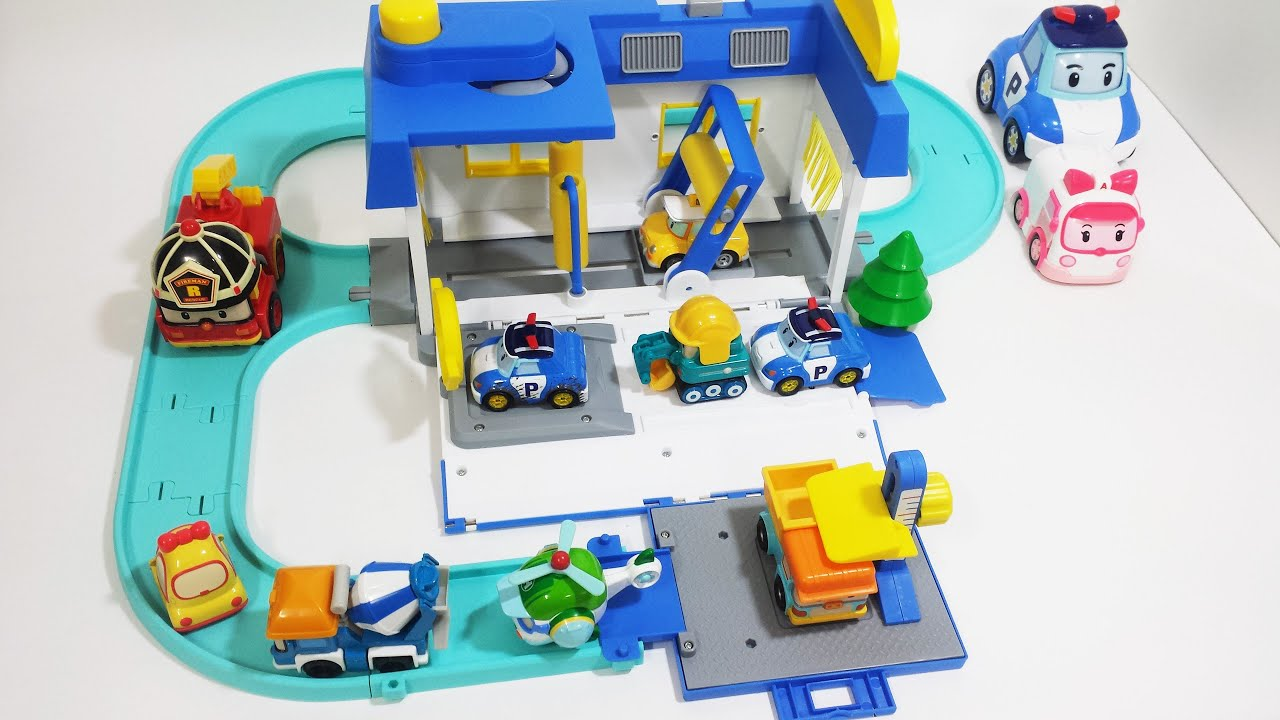 Robocar poli car wash station toys unboxing and play - Robot car polly ...