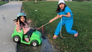 Sally Ride on Kids Car and Stuck in the Mud!! kids pretend play
