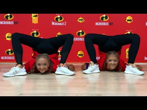 Contortion challenge inspired by Elastagirl from Incredibles 2 at Pixar studios 'Incredibles Day'