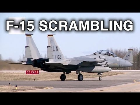 F-15C Pilots Scrambling, Take-off, Vertical Climb.