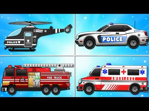 Download Youtube: Fire Truck Police Car Emergency Vehicles and Ambulance Garage Car for Kids