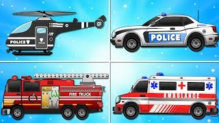 Fire Truck Police Car Emergency Vehicles and Ambulance Garage Car for Kids