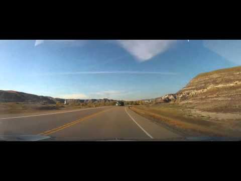 Driving through the Badlands in Alberta, Canada to Drumheller