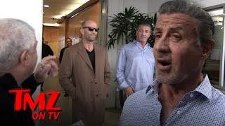 Sylvester Stallone & Jason Statham Do Lunch, Run Into Trouble with Vinny The Valet | TMZ TV