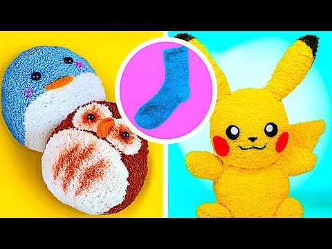 DIY Cutest Plush Toys From Socks! || How To Make Reversible Plushie And Pikachu Toy Using Old Socks