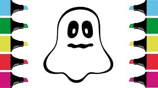 How To Draw A Ghost For Kids | Ghost Drawing For Kids | Ghost Coloring Pages For Kids