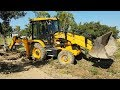 JCB Dozer Pushing Down Tree in Road Construction - JCB Video