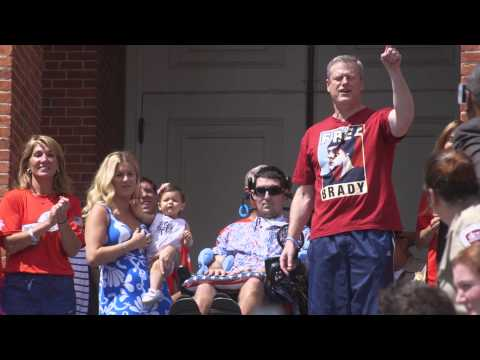 Governor Baker takes the Ice Bucket Challenge in a free Brady shirt
