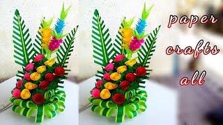 paper flower bouquet 2019 / make paper floral decoration / diy flower bouquet paper
