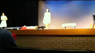 Brenna get's Pied on stage(Commderta De Arte)