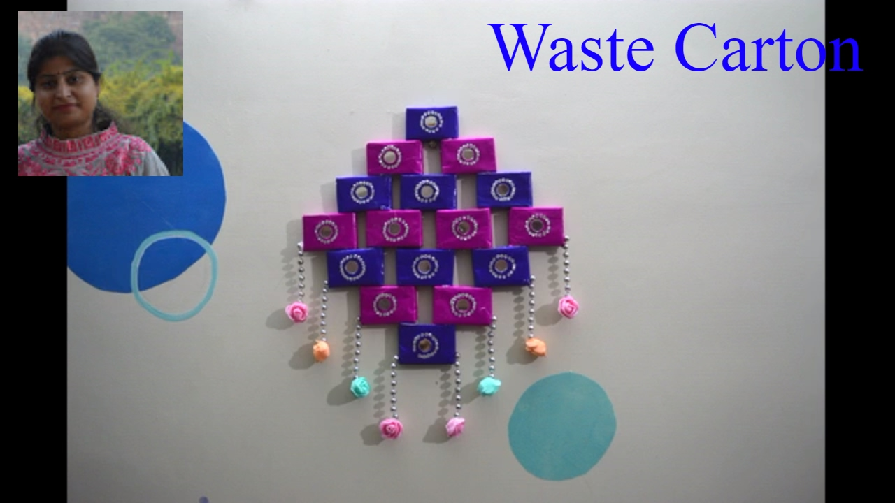Diy simple method to make wall hanging best out of for Best out of waste working models