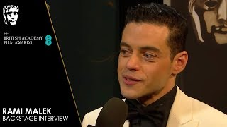 Rami Malek Reacts to Winning Leading Actor for Bohemian Rhapsody | EE BAFTA Film Awards 2019