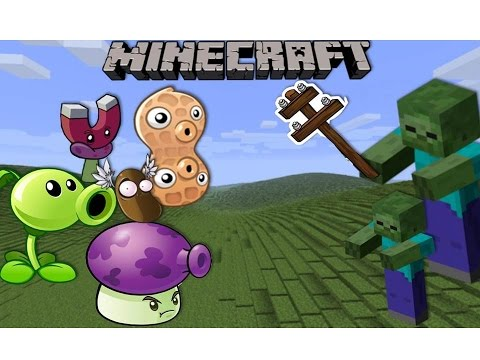 Minecraft Mod Showcase: PLANTS VS ZOMBIES (Pea shooter, Magnet shroom, Pea nut!) MINECRAFT WARFARE!