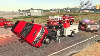 HIGH SPEED CAR CRASH | FIRST RESPONDERS | FARMING SIMULATOR 2019